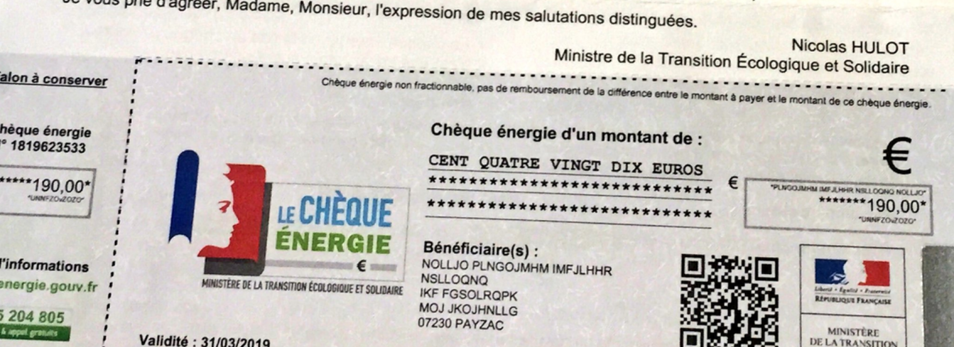 LE CHEQUE ENERGIE